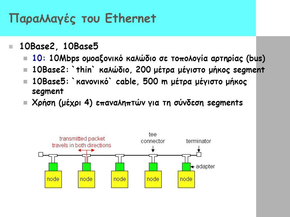 Παραλλαγές του Ethernet 10Base2, 10Base5 10: 10Mbps ομοαξονικό καλώδιο σε τοπολογία αρτηρίας (bus) 10Base2: `thin` καλώδιο, 200 μέτρα μέγιστο μήκος segment 10Base5: `κανονικό` cable, 500 m μέτρα μέγιστο μήκος segment Χρήση (μέχρι 4) επαναληπτών για τη σύνδεση segments