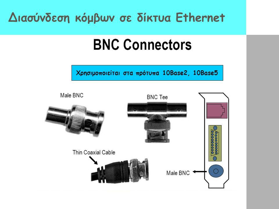 Διασύνδεση κόμβων σε δίκτυα Ethernet Χρησιμοποιείται στα πρότυπα 10Base2, 10Base5