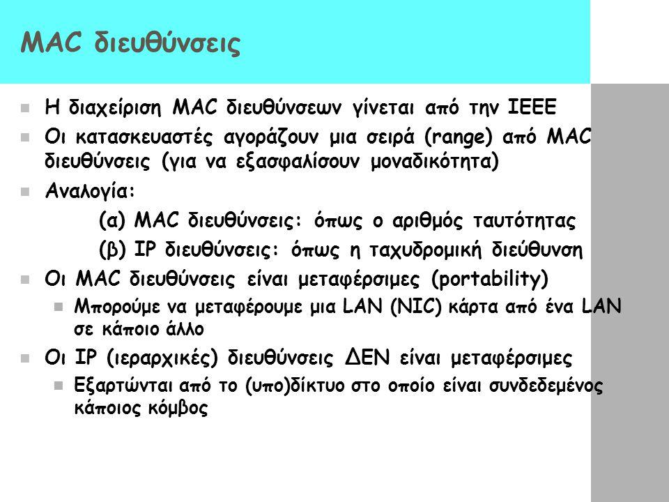 ΜΑC διευθύνσεις Η διαχείριση MAC διευθύνσεων γίνεται από την IEEE Οι κατασκευαστές αγοράζουν μια σειρά (range) από MAC διευθύνσεις (για να εξασφαλίσουν μοναδικότητα) Αναλογία: (α) MAC διευθύνσεις: όπως ο αριθμός ταυτότητας (β) IP διευθύνσεις: όπως η ταχυδρομική διεύθυνση Οι MAC διευθύνσεις είναι μεταφέρσιμες (portability) Μπορούμε να μεταφέρουμε μια LAN (ΝΙC) κάρτα από ένα LAN σε κάποιο άλλο Οι IP (ιεραρχικές) διευθύνσεις ΔΕΝ είναι μεταφέρσιμες Εξαρτώνται από το (υπο)δίκτυο στο οποίο είναι συνδεδεμένος κάποιος κόμβος