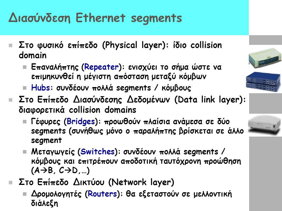 Διασύνδεση Ethernet segments Στο φυσικό επίπεδο (Physical layer): ίδιο collision domain Επαναλήπτης (Repeater): ενισχύει το σήμα ώστε να επιμηκυνθεί η μέγιστη απόσταση μεταξύ κόμβων Hubs: συνδέουν πολλά segments / κόμβους Στο Επίπεδο Διασύνδεσης Δεδομένων (Data link layer): διαφορετικά collision domains Γέφυρες (Bridges): προωθούν πλαίσια ανάμεσα σε δύο segments (συνήθως μόνο ο παραλήπτης βρίσκεται σε άλλο segment Μεταγωγείς (Switches): συνδέουν πολλά segments / κόμβους και επιτρέπουν αποδοτική ταυτόχρονη προώθηση (A  B, C  D,…) Στο Επίπεδο Δικτύου (Network layer) Δρομολογητές (Routers): θα εξεταστούν σε μελλοντική διάλεξη