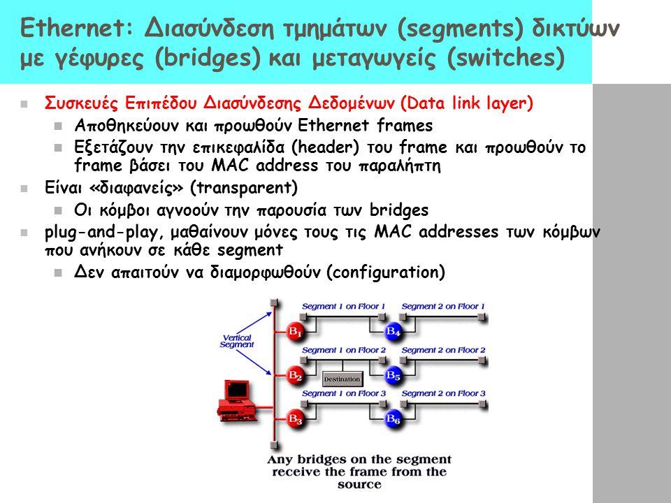 Ethernet: Διασύνδεση τμημάτων (segments) δικτύων με γέφυρες (bridges) και μεταγωγείς (switches) Συσκευές Επιπέδου Διασύνδεσης Δεδομένων (Data link layer) Αποθηκεύουν και προωθούν Ethernet frames Εξετάζουν την επικεφαλίδα (header) του frame και προωθούν το frame βάσει του MAC address του παραλήπτη Είναι «διαφανείς» (transparent) Οι κόμβοι αγνοούν την παρουσία των bridges plug-and-play, μαθαίνουν μόνες τους τις MAC addresses των κόμβων που ανήκουν σε κάθε segment Δεν απαιτούν να διαμορφωθούν (configuration)