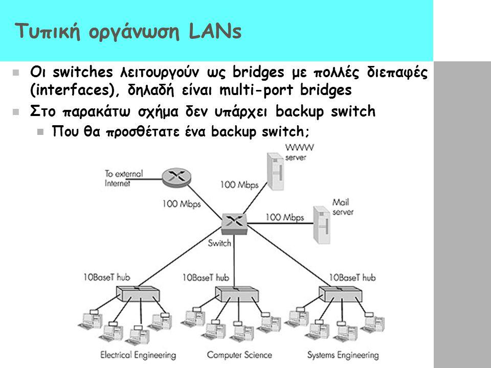 Τυπική οργάνωση LANs Oι switches λειτουργούν ως bridges με πολλές διεπαφές (interfaces), δηλαδή είναι multi-port bridges Στο παρακάτω σχήμα δεν υπάρχει backup switch Που θα προσθέτατε ένα backup switch;
