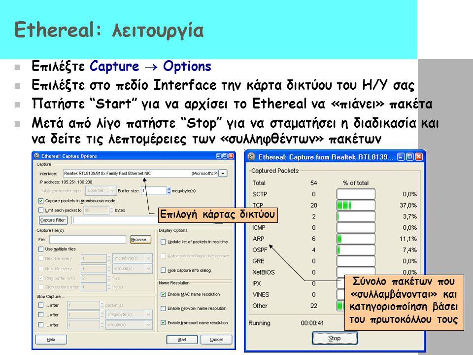 Ethereal: λειτουργία Επιλέξτε Capture  Options Επιλέξτε στο πεδίο Interface την κάρτα δικτύου του H/Y σας Πατήστε Start για να αρχίσει το Ethereal να «πιάνει» πακέτα Μετά από λίγο πατήστε Stop για να σταματήσει η διαδικασία και να δείτε τις λεπτομέρειες των «συλληφθέντων» πακέτων Επιλογή κάρτας δικτύου Σύνολο πακέτων που «συλλαμβάνονται» και κατηγοριοποίηση βάσει του πρωτοκόλλου τους