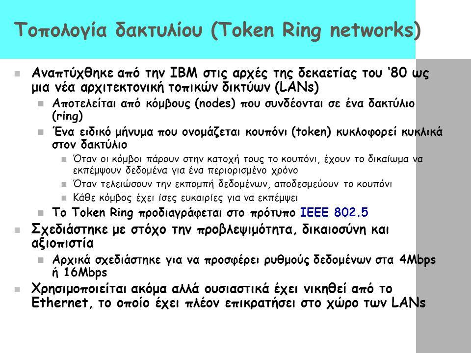 Τοπολογία δακτυλίου (Token Ring networks) Αναπτύχθηκε από την IBM στις αρχές της δεκαετίας του '80 ως μια νέα αρχιτεκτονική τοπικών δικτύων (LANs) Αποτελείται από κόμβους (nodes) που συνδέονται σε ένα δακτύλιο (ring) Ένα ειδικό μήνυμα που ονομάζεται κουπόνι (token) κυκλοφορεί κυκλικά στον δακτύλιο Όταν οι κόμβοι πάρουν στην κατοχή τους το κουπόνι, έχουν το δικαίωμα να εκπέμψουν δεδομένα για ένα περιορισμένο χρόνο Όταν τελειώσουν την εκπομπή δεδομένων, αποδεσμεύουν το κουπόνι Κάθε κόμβος έχει ίσες ευκαιρίες για να εκπέμψει Το Token Ring προδιαγράφεται στο πρότυπο IEEE 802.5 Σχεδιάστηκε με στόχο την προβλεψιμότητα, δικαιοσύνη και αξιοπιστία Αρχικά σχεδιάστηκε για να προσφέρει ρυθμούς δεδομένων στα 4Mbps ή 16Mbps Χρησιμοποιείται ακόμα αλλά ουσιαστικά έχει νικηθεί από το Ethernet, το οποίο έχει πλέον επικρατήσει στο χώρο των LANs