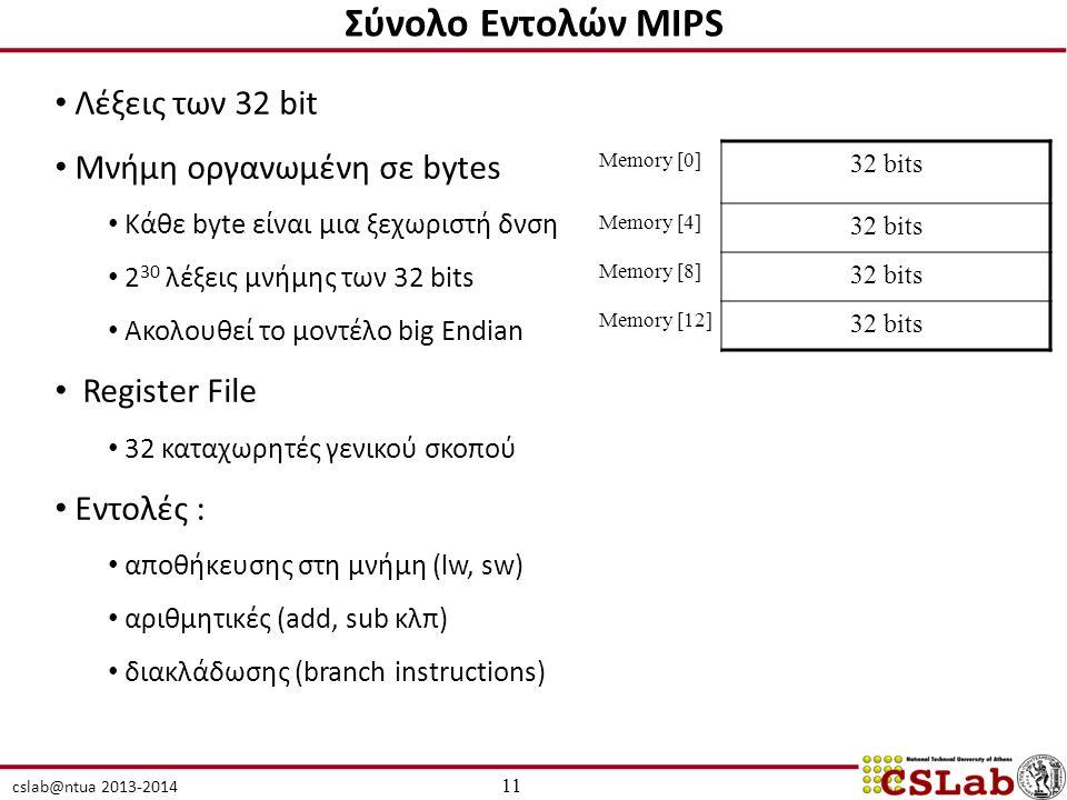 cslab@ntua 2013-2014 Λέξεις των 32 bit Μνήμη οργανωμένη σε bytes Κάθε byte είναι μια ξεχωριστή δνση 2 30 λέξεις μνήμης των 32 bits Ακολουθεί το μοντέλο big Endian Register File 32 καταχωρητές γενικού σκοπού Εντολές : αποθήκευσης στη μνήμη (lw, sw) αριθμητικές (add, sub κλπ) διακλάδωσης (branch instructions) 11 Σύνολο Εντολών MIPS Memory [0] 32 bits Memory [4] 32 bits Memory [8] 32 bits Memory [12] 32 bits