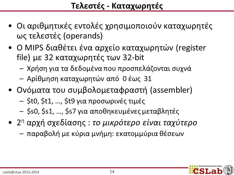 cslab@ntua 2013-2014 14 Τελεστές - Καταχωρητές Οι αριθμητικές εντολές χρησιμοποιούν καταχωρητές ως τελεστές (operands) Ο MIPS διαθέτει ένα αρχείο κατα