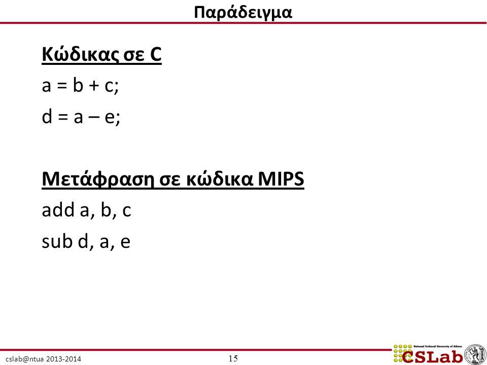 cslab@ntua 2013-2014 Κώδικας σε C a = b + c; d = a – e; Μετάφραση σε κώδικα MIPS add a, b, c sub d, a, e 15 Παράδειγμα
