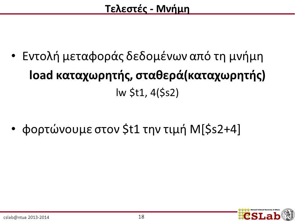 cslab@ntua 2013-2014 Εντολή μεταφοράς δεδομένων από τη μνήμη load καταχωρητής, σταθερά(καταχωρητής) lw $t1, 4($s2) φορτώνουμε στον $t1 την τιμή M[$s2+