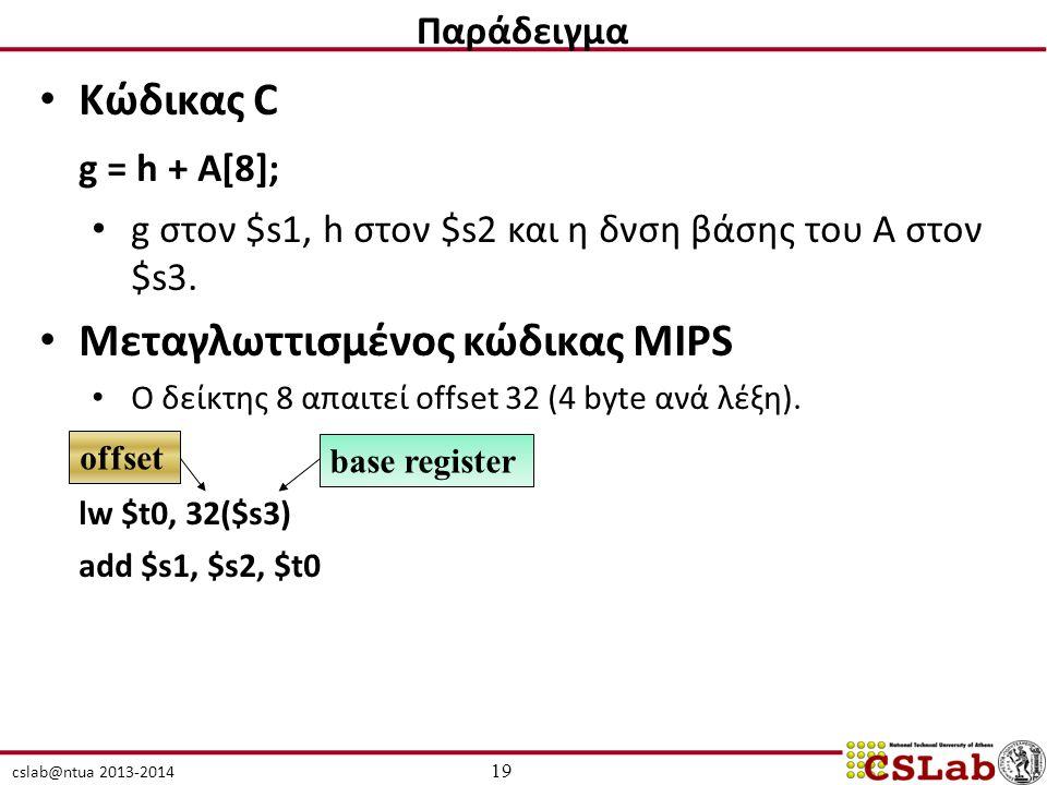 cslab@ntua 2013-2014 Κώδικας C g = h + A[8]; g στον $s1, h στον $s2 και η δνση βάσης του A στον $s3. Μεταγλωττισμένος κώδικας MIPS Ο δείκτης 8 απαιτεί