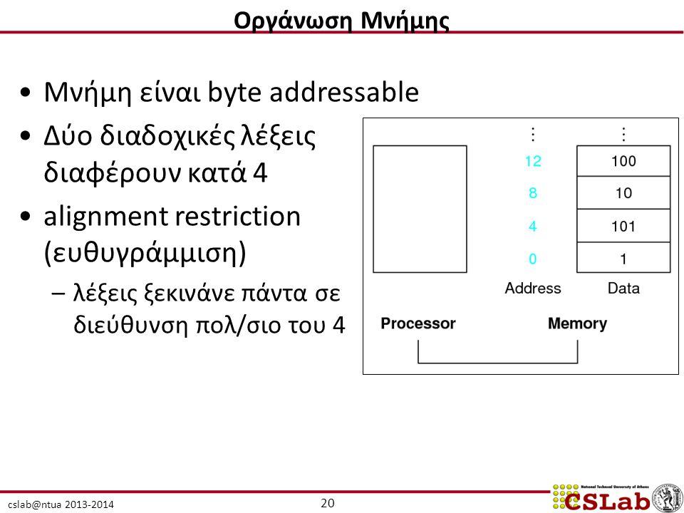 cslab@ntua 2013-2014 Μνήμη είναι byte addressable Δύο διαδοχικές λέξεις διαφέρουν κατά 4 alignment restriction (ευθυγράμμιση) –λέξεις ξεκινάνε πάντα σε διεύθυνση πολ/σιο του 4 20 Οργάνωση Μνήμης