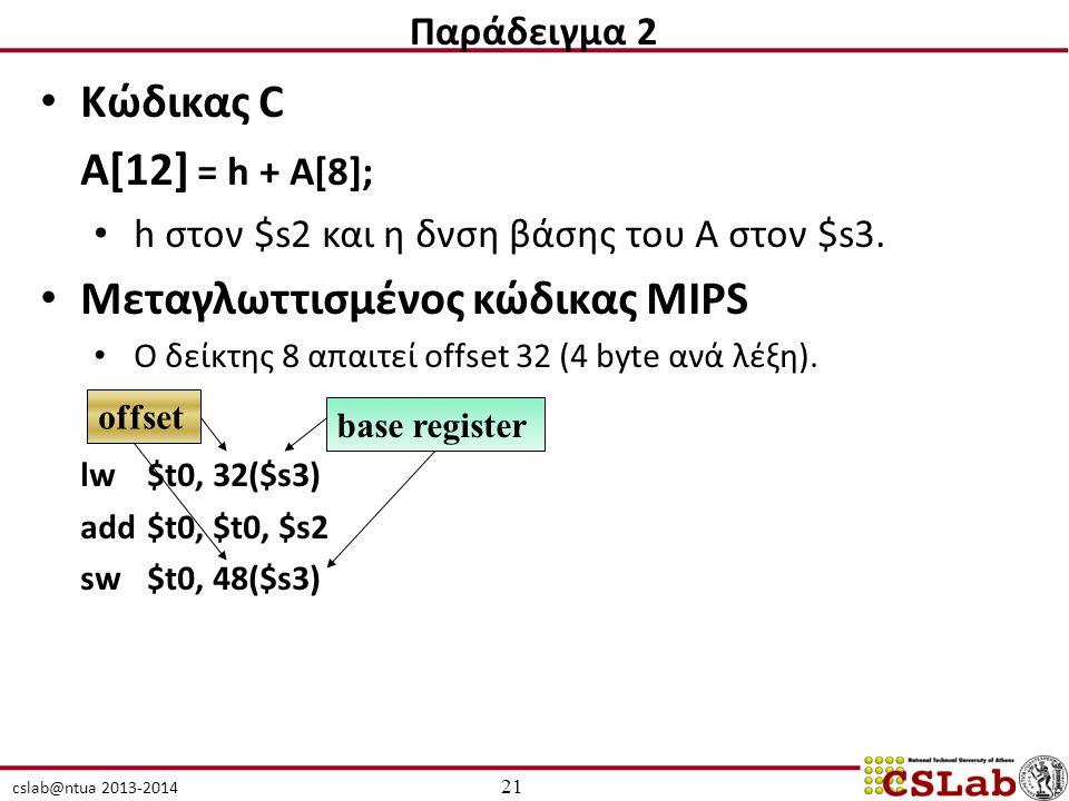 cslab@ntua 2013-2014 Κώδικας C Α[12] = h + A[8]; h στον $s2 και η δνση βάσης του A στον $s3. Μεταγλωττισμένος κώδικας MIPS Ο δείκτης 8 απαιτεί offset