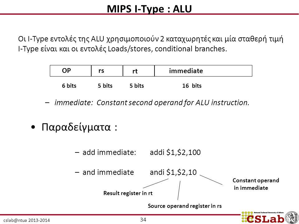 cslab@ntua 2013-2014 –immediate: Constant second operand for ALU instruction. Παραδείγματα : –add immediate:addi $1,$2,100 –and immediateandi $1,$2,10