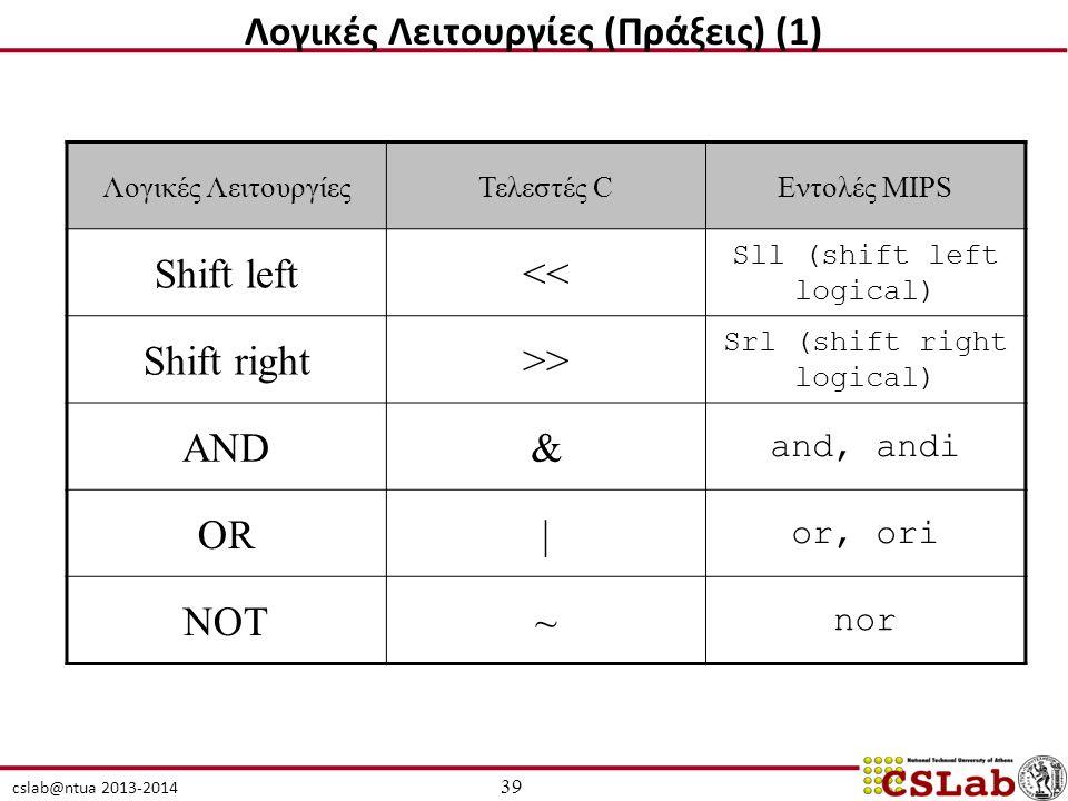 cslab@ntua 2013-2014 Λογικές ΛειτουργίεςΤελεστές CΕντολές MIPS Shift left<< Sll (shift left logical) Shift right>> Srl (shift right logical) AND& and, andi OR| or, ori NOT~ nor 39 Λογικές Λειτουργίες (Πράξεις) (1)