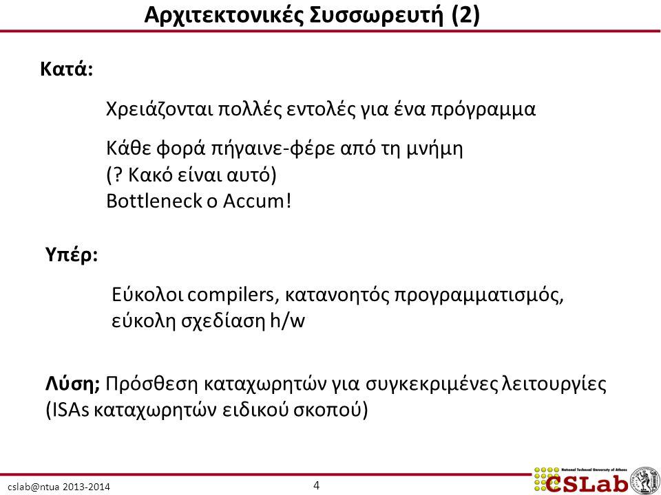 cslab@ntua 2013-2014 Αρχιτεκτονικές Συσσωρευτή (2) Κατά: Χρειάζονται πολλές εντολές για ένα πρόγραμμα Κάθε φορά πήγαινε-φέρε από τη μνήμη (? Κακό είνα