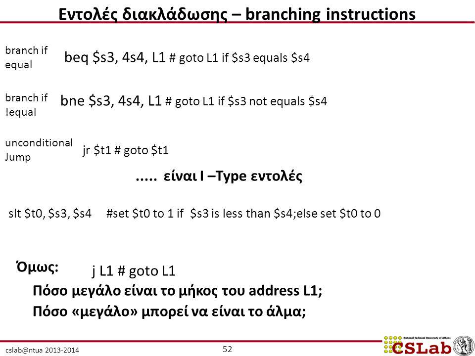 cslab@ntua 2013-2014 branch if equal beq $s3, 4s4, L1 # goto L1 if $s3 equals $s4 branch if !equal bne $s3, 4s4, L1 # goto L1 if $s3 not equals $s4 unconditional Jump j L1 # goto L1 jr $t1 # goto $t1.....