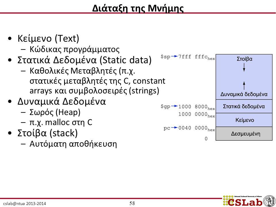 cslab@ntua 2013-2014 Κείμενο (Text) –Kώδικας προγράμματος Στατικά Δεδομένα (Static data) –Καθολικές Μεταβλητές (π.χ. στατικές μεταβλητές της C, consta