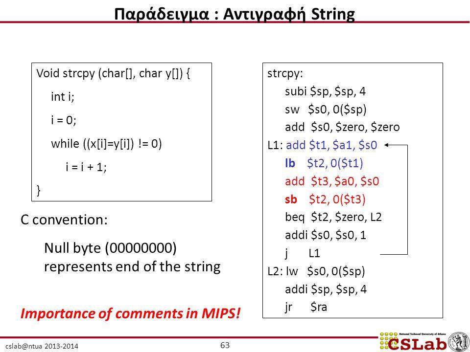 cslab@ntua 2013-2014 Void strcpy (char[], char y[]) { int i; i = 0; while ((x[i]=y[i]) != 0) i = i + 1; } strcpy: subi $sp, $sp, 4 sw $s0, 0($sp) add