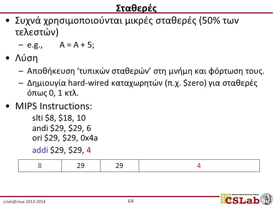 cslab@ntua 2013-2014 Συχνά χρησιμοποιούνται μικρές σταθερές (50% των τελεστών) –e.g., A = A + 5; Λύση –Αποθήκευση 'τυπικών σταθερών' στη μνήμη και φόρ