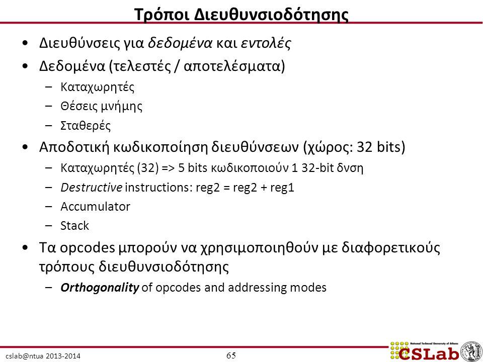 cslab@ntua 2013-2014 Διευθύνσεις για δεδομένα και εντολές Δεδομένα (τελεστές / αποτελέσματα) –Καταχωρητές –Θέσεις μνήμης –Σταθερές Αποδοτική κωδικοποίηση διευθύνσεων (χώρος: 32 bits) –Καταχωρητές (32) => 5 bits κωδικοποιούν 1 32-bit δνση –Destructive instructions: reg2 = reg2 + reg1 –Accumulator –Stack Τα opcodes μπορούν να χρησιμοποιηθούν με διαφορετικούς τρόπους διευθυνσιοδότησης –Orthogonality of opcodes and addressing modes 65 Τρόποι Διευθυνσιοδότησης