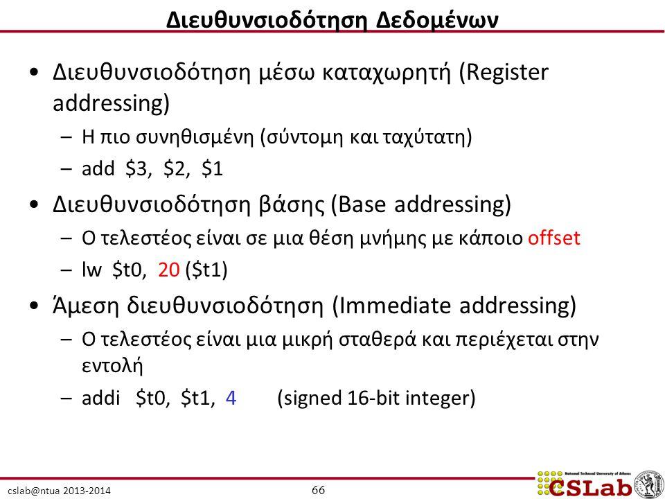 cslab@ntua 2013-2014 Διευθυνσιοδότηση μέσω καταχωρητή (Register addressing) –Η πιο συνηθισμένη (σύντομη και ταχύτατη) –add $3, $2, $1 Διευθυνσιοδότηση βάσης (Base addressing) –O τελεστέος είναι σε μια θέση μνήμης με κάποιο offset –lw $t0, 20 ($t1) Άμεση διευθυνσιοδότηση (Immediate addressing) –Ο τελεστέος είναι μια μικρή σταθερά και περιέχεται στην εντολή –addi $t0, $t1, 4 (signed 16-bit integer) 66 Διευθυνσιοδότηση Δεδομένων