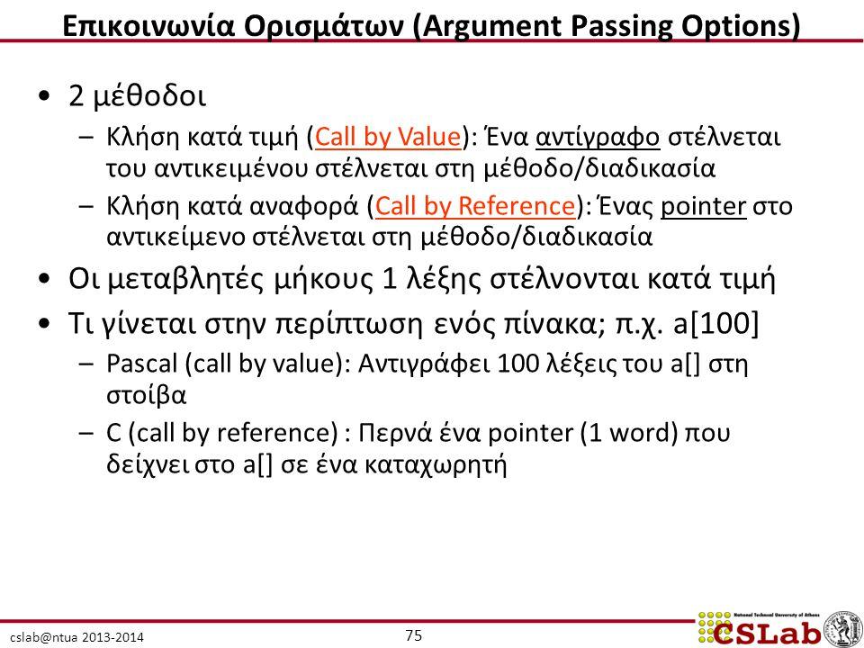 cslab@ntua 2013-2014 2 μέθοδοι –Κλήση κατά τιμή (Call by Value): Ένα αντίγραφο στέλνεται του αντικειμένου στέλνεται στη μέθοδο/διαδικασία –Κλήση κατά αναφορά (Call by Reference): Ένας pointer στο αντικείμενο στέλνεται στη μέθοδο/διαδικασία Οι μεταβλητές μήκους 1 λέξης στέλνονται κατά τιμή Τι γίνεται στην περίπτωση ενός πίνακα; π.χ.