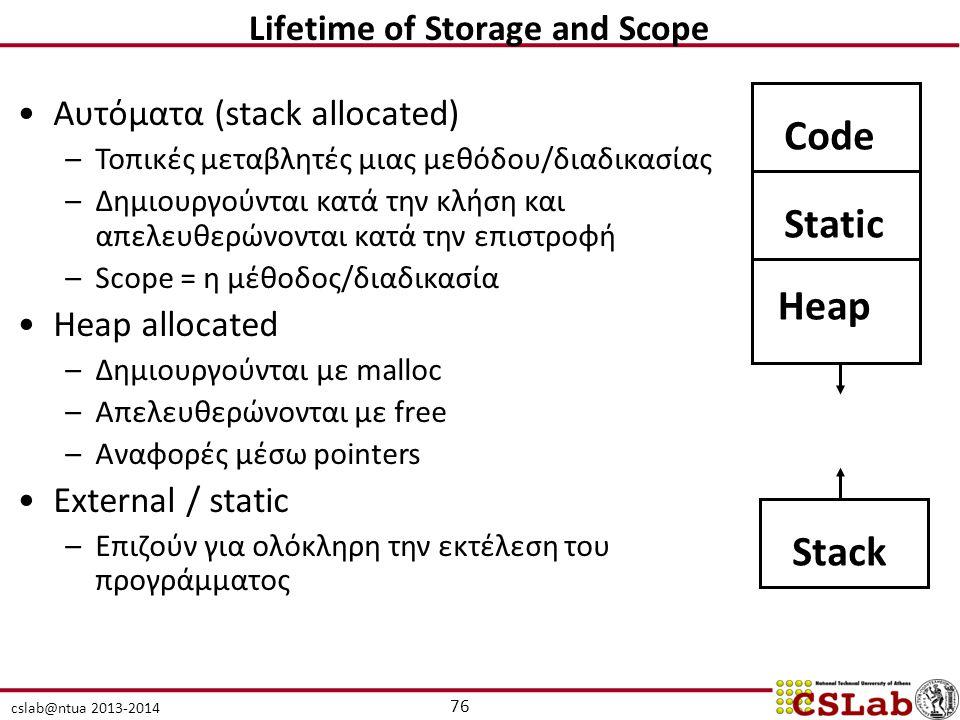 cslab@ntua 2013-2014 Αυτόματα (stack allocated) –Τοπικές μεταβλητές μιας μεθόδου/διαδικασίας –Δημιουργούνται κατά την κλήση και απελευθερώνονται κατά την επιστροφή –Scope = η μέθοδος/διαδικασία Heap allocated –Δημιουργούνται με malloc –Απελευθερώνονται με free –Αναφορές μέσω pointers External / static –Επιζούν για ολόκληρη την εκτέλεση του προγράμματος CodeStatic Heap Stack 76 Lifetime of Storage and Scope