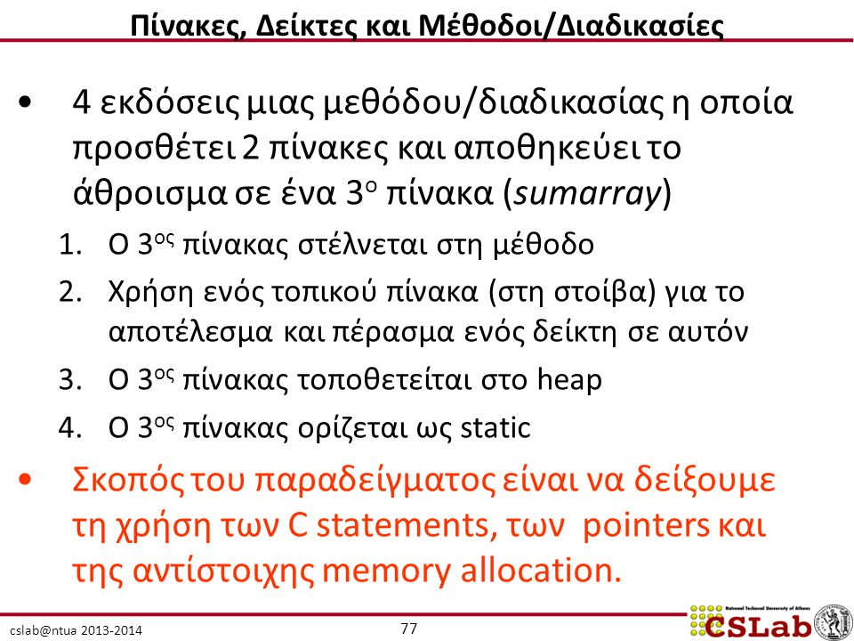 cslab@ntua 2013-2014 4 εκδόσεις μιας μεθόδου/διαδικασίας η οποία προσθέτει 2 πίνακες και αποθηκεύει το άθροισμα σε ένα 3 ο πίνακα (sumarray) 1.Ο 3 ος