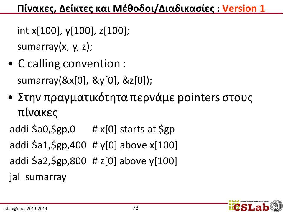 cslab@ntua 2013-2014 int x[100], y[100], z[100]; sumarray(x, y, z); C calling convention : sumarray(&x[0], &y[0], &z[0]); Στην πραγματικότητα περνάμε pointers στους πίνακες addi $a0,$gp,0 # x[0] starts at $gp addi $a1,$gp,400 # y[0] above x[100] addi $a2,$gp,800 # z[0] above y[100] jal sumarray 78 Πίνακες, Δείκτες και Μέθοδοι/Διαδικασίες : Version 1