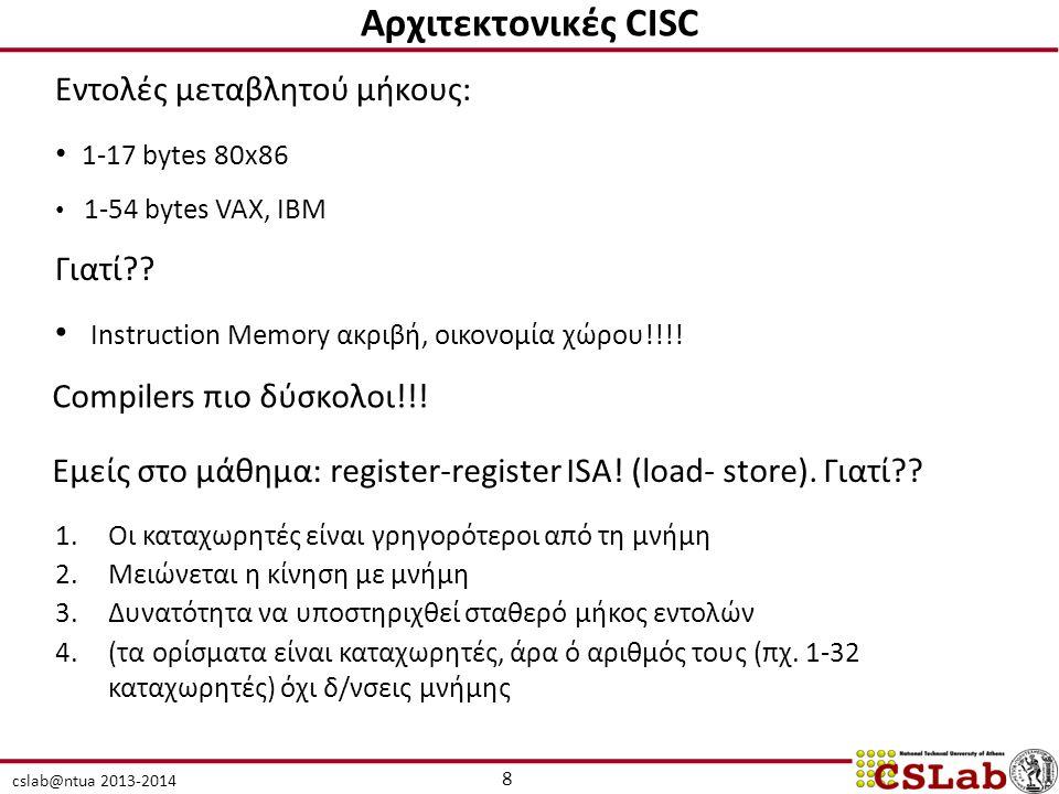 cslab@ntua 2013-2014 Εντολές μεταβλητού μήκους: 1-17 bytes 80x86 1-54 bytes VAX, IBM Γιατί?? Ιnstruction Memory ακριβή, οικονομία χώρου!!!! Εμείς στο