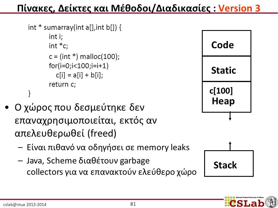 cslab@ntua 2013-2014 int * sumarray(int a[],int b[]) { int i; int *c; c = (int *) malloc(100); for(i=0;i<100;i=i+1) c[i] = a[i] + b[i]; return c; } CodeStatic Heap Stack c[100] Ο χώρος που δεσμεύτηκε δεν επαναχρησιμοποιείται, εκτός αν απελευθερωθεί (freed) –Είναι πιθανό να οδηγήσει σε memory leaks –Java, Scheme διαθέτουν garbage collectors για να επανακτούν ελεύθερο χώρο 81 Πίνακες, Δείκτες και Μέθοδοι/Διαδικασίες : Version 3