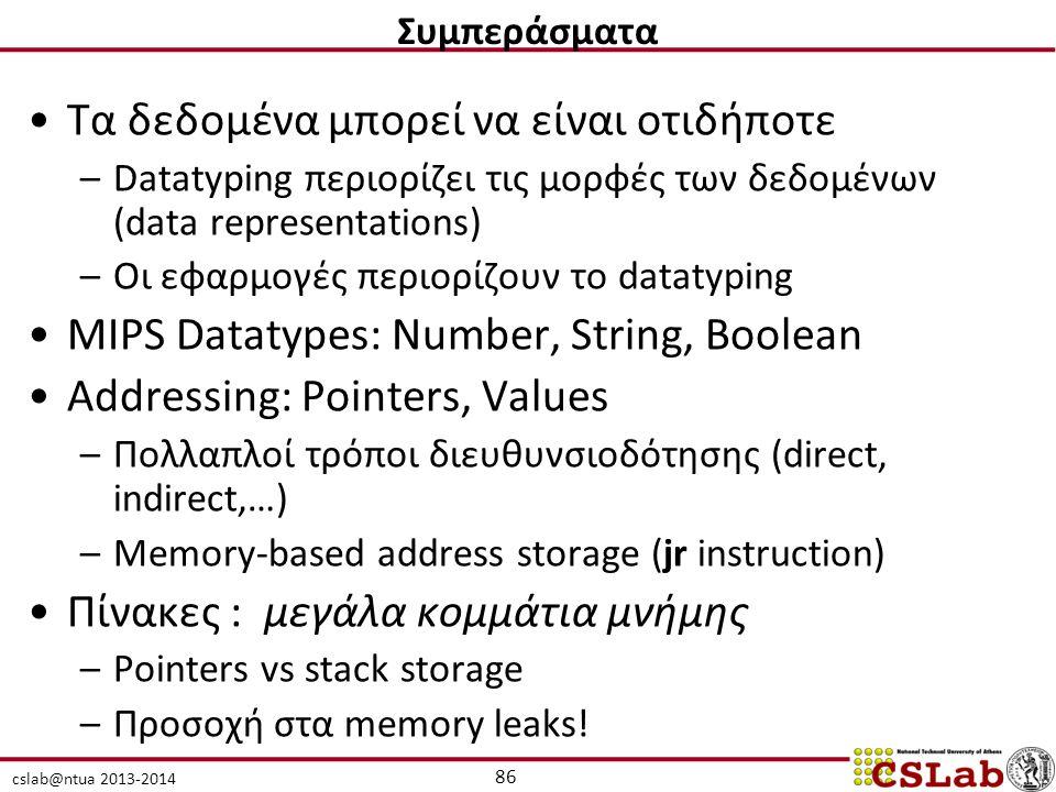 cslab@ntua 2013-2014 Τα δεδομένα μπορεί να είναι οτιδήποτε –Datatyping περιορίζει τις μορφές των δεδομένων (data representations) –Οι εφαρμογές περιορίζουν το datatyping MIPS Datatypes: Number, String, Boolean Addressing: Pointers, Values –Πολλαπλοί τρόποι διευθυνσιοδότησης (direct, indirect,…) –Memory-based address storage (jr instruction) Πίνακες : μεγάλα κομμάτια μνήμης –Pointers vs stack storage –Προσοχή στα memory leaks.