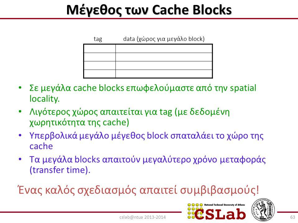 Μέγεθος των Cache Blocks Σε μεγάλα cache blocks επωφελούμαστε από την spatial locality. Λιγότερος χώρος απαιτείται για tag (με δεδομένη χωρητικότητα τ