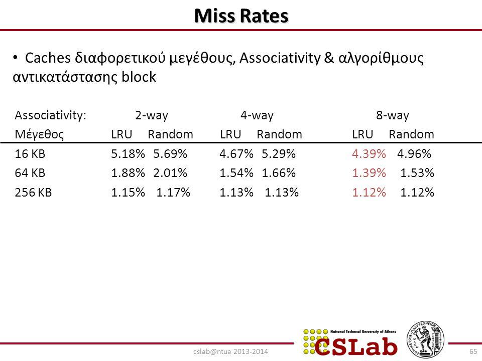 Miss Rates Associativity: 2-way 4-way 8-way Μέγεθος LRU Random LRU Random LRU Random 16 KB 5.18% 5.69% 4.67% 5.29% 4.39% 4.96% 64 KB 1.88% 2.01% 1.54%