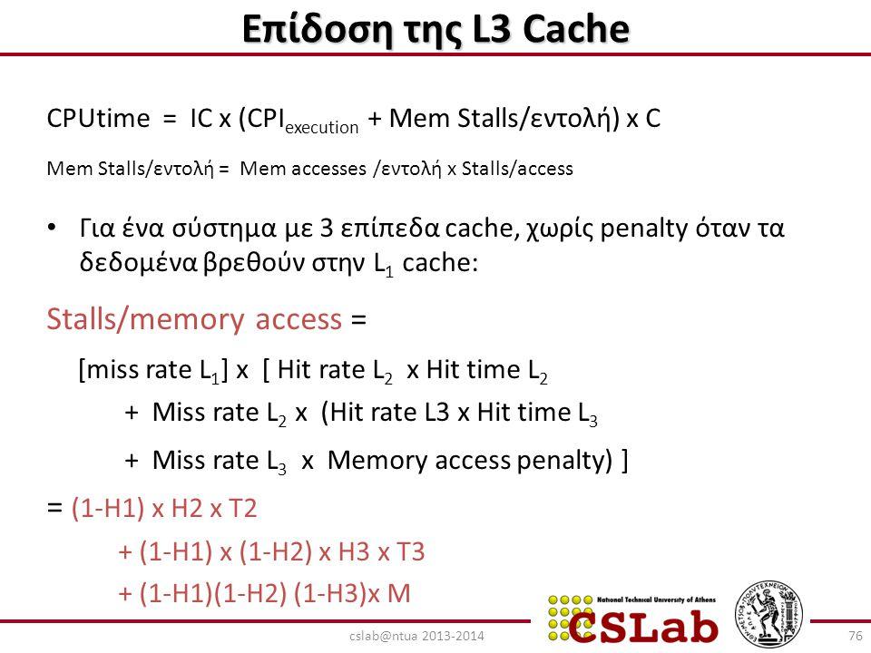 Επίδοση της L3 Cache CPUtime = IC x (CPI execution + Mem Stalls/εντολή) x C Mem Stalls/εντολή = Mem accesses /εντολή x Stalls/access Για ένα σύστημα μ