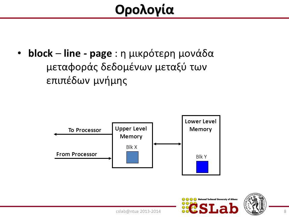 Ορολογία – hit : το block βρίσκεται σε κάποια θέση του εξεταζόμενου επιπέδου μνήμης hit rate : hits/συνολικές προσπελάσεις μνήμης hit time : χρόνος προσπέλασης των δεδομένων – miss : το block δεν υπάρχει στο εξεταζόμενο επίπεδο μνήμης miss rate : 1 – (hit rate) miss penalty : (χρόνος μεταφοράς των δεδομένων ενός block στο συγκεκριμένο επίπεδο μνήμης) + (χρόνος απόκτησης των δεδομένων από την CPU) – access time : χρόνος απόκτησης της 1ης λέξης – transfer time : χρόνος απόκτησης των υπόλοιπων λέξεων 9cslab@ntua 2013-2014