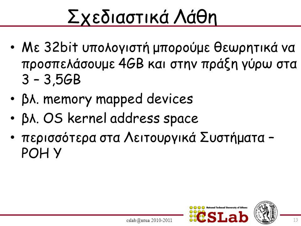 cslab@ntua 2010-2011 Σχεδιαστικά Λάθη Με 32bit υπολογιστή μπορούμε θεωρητικά να προσπελάσουμε 4GB και στην πράξη γύρω στα 3 – 3,5GB βλ.