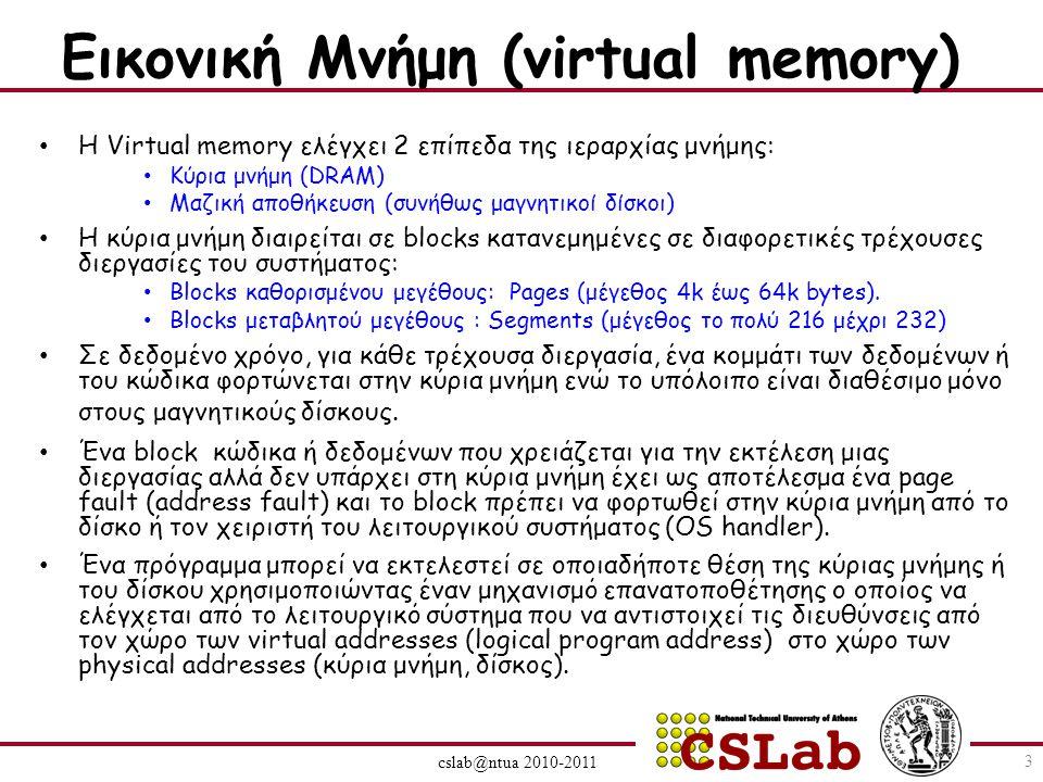 Εικονική Μνήμη (virtual memory) Η Virtual memory ελέγχει 2 επίπεδα της ιεραρχίας μνήμης: Κύρια μνήμη (DRAM) Μαζική αποθήκευση (συνήθως μαγνητικοί δίσκοι) Η κύρια μνήμη διαιρείται σε blocks κατανεμημένες σε διαφορετικές τρέχουσες διεργασίες του συστήματος: Βlocks καθορισμένου μεγέθους: Pages (μέγεθος 4k έως 64k bytes).