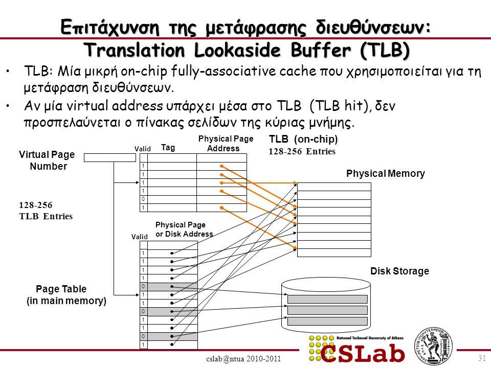 Επιτάχυνση της μετάφρασης διευθύνσεων: Translation Lookaside Buffer (TLB) cslab@ntua 2010-2011 TLB: Μία μικρή on-chip fully-associative cache που χρησιμοποιείται για τη μετάφραση διευθύνσεων.