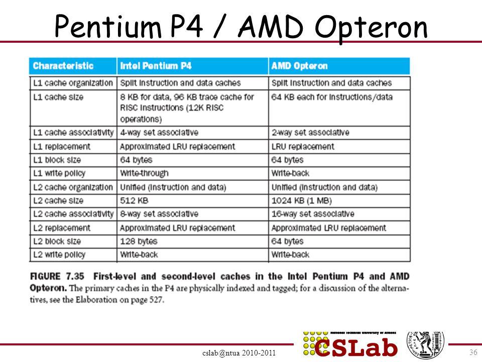 Pentium P4 / AMD Opteron cslab@ntua 2010-2011 36