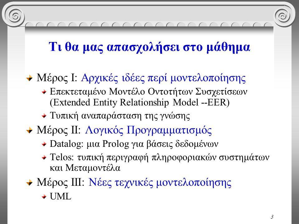 3 Τι θα μας απασχολήσει στο μάθημα Μέρος Ι: Αρχικές ιδέες περί μοντελοποίησης Επεκτεταμένο Μοντέλο Οντοτήτων Συσχετίσεων (Extended Entity Relationship Model --EER) Τυπική αναπαράσταση της γνώσης Μέρος ΙΙ: Λογικός Προγραμματισμός Datalog: μια Prolog για βάσεις δεδομένων Telos: τυπική περιγραφή πληροφοριακών συστημάτων και Μεταμοντέλα Μέρος ΙΙΙ: Νέες τεχνικές μοντελοποίησης UML