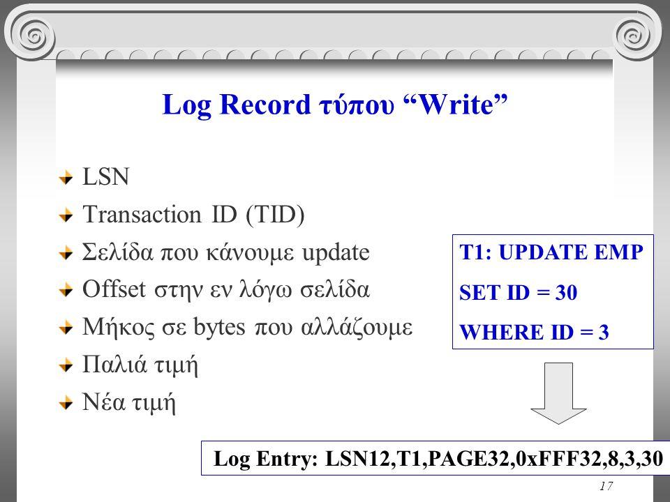 "17 Log Record τύπου ""Write"" LSN Transaction ID (TID) Σελίδα που κάνουμε update Offset στην εν λόγω σελίδα Μήκος σε bytes που αλλάζουμε Παλιά τιμή Νέα"