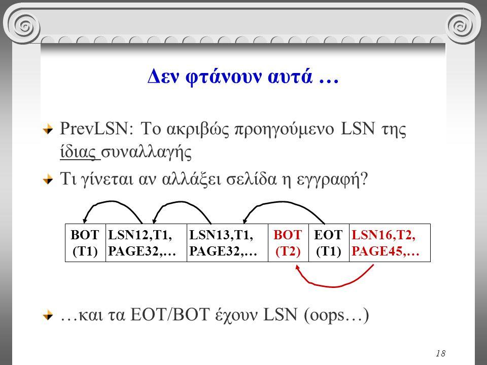 18 Δεν φτάνουν αυτά … PrevLSN: To ακριβώς προηγούμενο LSN της ίδιας συναλλαγής Τι γίνεται αν αλλάξει σελίδα η εγγραφή? …και τα ΕΟΤ/ΒΟΤ έχουν LSN (oops