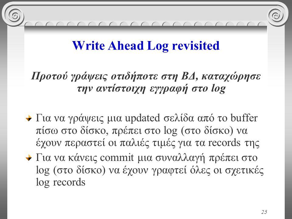 25 Write Ahead Log revisited Προτού γράψεις οτιδήποτε στη ΒΔ, καταχώρησε την αντίστοιχη εγγραφή στο log Για να γράψεις μια updated σελίδα από το buffe
