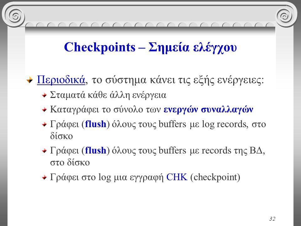 32 Checkpoints – Σημεία ελέγχου Περιοδικά, το σύστημα κάνει τις εξής ενέργειες: Σταματά κάθε άλλη ενέργεια Καταγράφει το σύνολο των ενεργών συναλλαγών