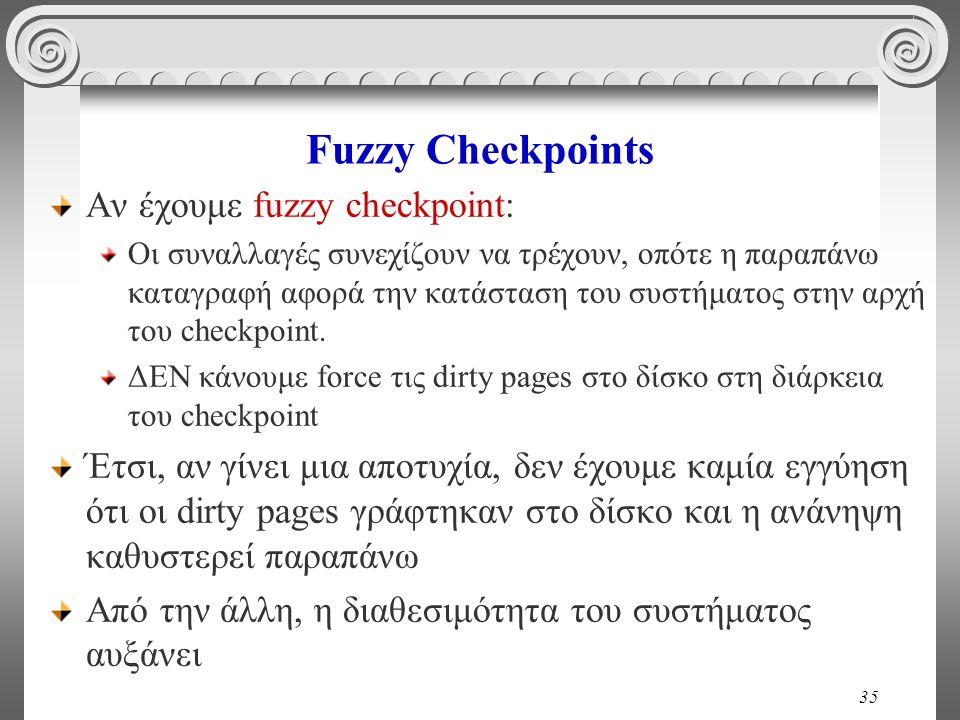 35 Fuzzy Checkpoints Αν έχουμε fuzzy checkpoint: Οι συναλλαγές συνεχίζουν να τρέχουν, οπότε η παραπάνω καταγραφή αφορά την κατάσταση του συστήματος στ
