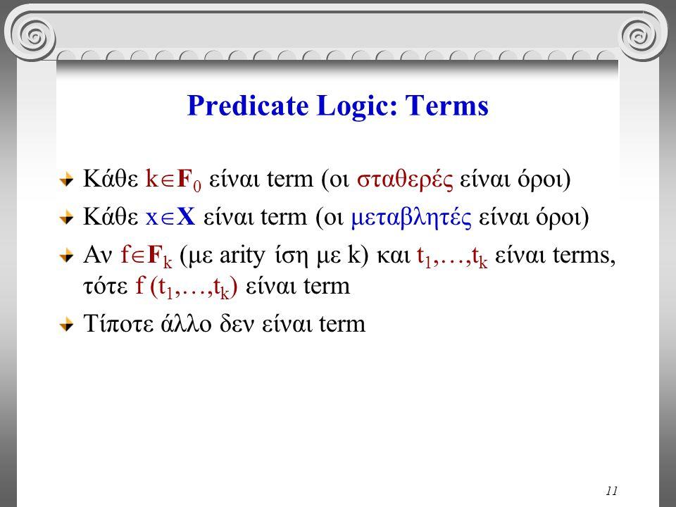 11 Predicate Logic: Terms Κάθε k  F 0 είναι term (οι σταθερές είναι όροι) Κάθε x  X είναι term (οι μεταβλητές είναι όροι) Αν f  F k (με arity ίση μ