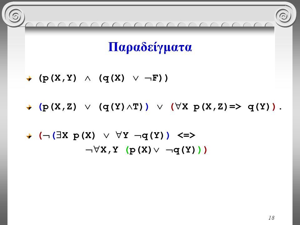 18 Παραδείγματα (p(X,Y)  (q(X)   F)) (p(X,Z)  (q(Y)  T))  (  X p(X,Z)=> q(Y)). (  (  X p(X)   Y  q(Y))  X,Y (p(X)   q(Y)))