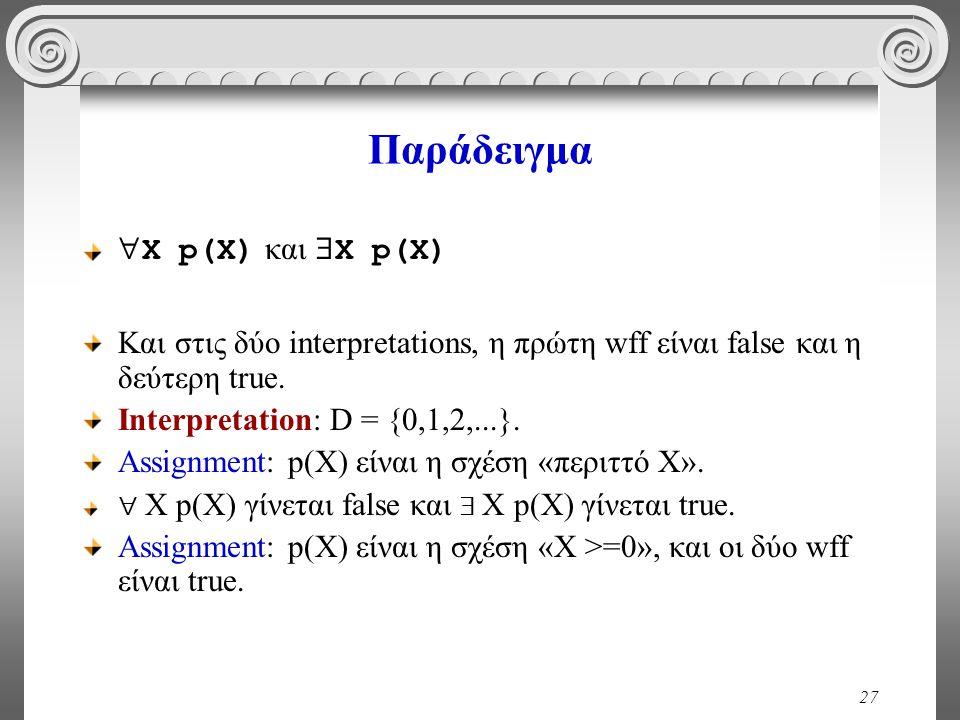 27 Παράδειγμα  X p(X) και  X p(X) Και στις δύο interpretations, η πρώτη wff είναι false και η δεύτερη true. Ιnterpretation: D = {0,1,2,...}. Assignm
