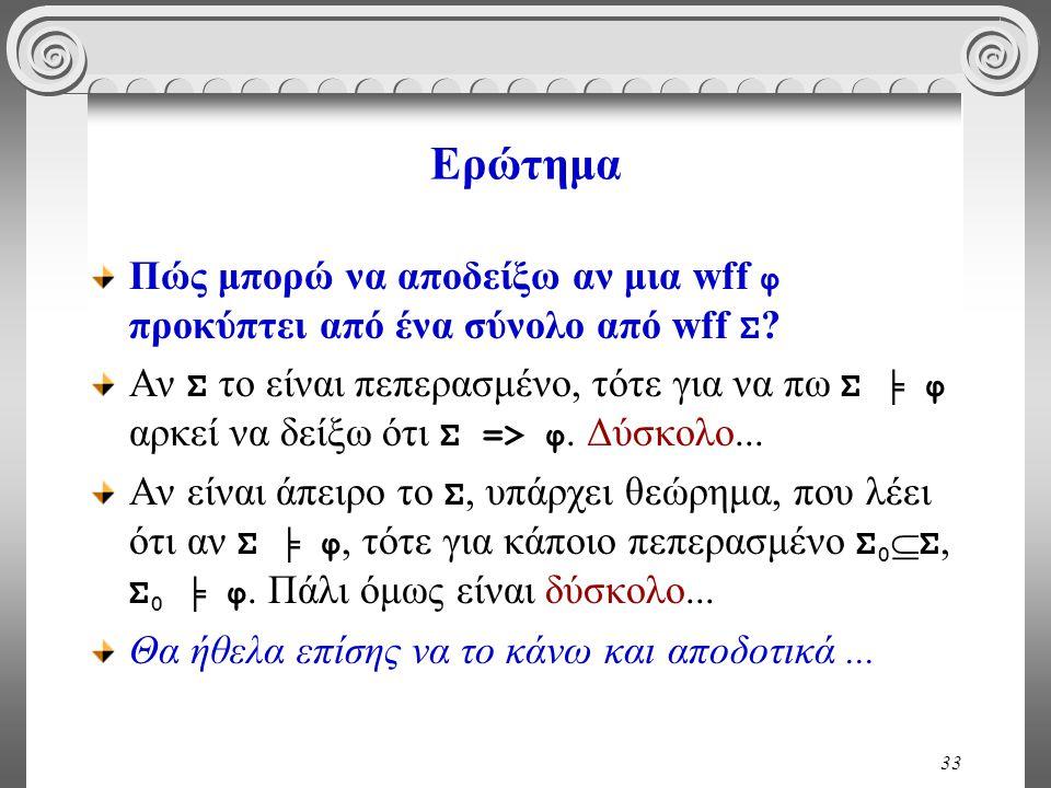 33 Ερώτημα Πώς μπορώ να αποδείξω αν μια wff φ προκύπτει από ένα σύνολο από wff Σ .