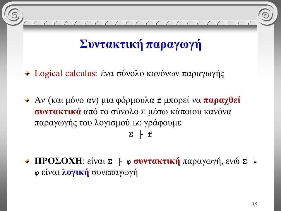 35 Συντακτική παραγωγή Logical calculus: ένα σύνολο κανόνων παραγωγής Αν (και μόνο αν) μια φόρμουλα f μπορεί να παραχθεί συντακτικά από το σύνολο Σ μέσω κάποιου κανόνα παραγωγής του λογισμού LC γράφουμε Σ ├ f ΠΡΟΣΟΧΗ: είναι Σ ├ φ συντακτική παραγωγή, ενώ Σ ╞ φ είναι λογική συνεπαγωγή